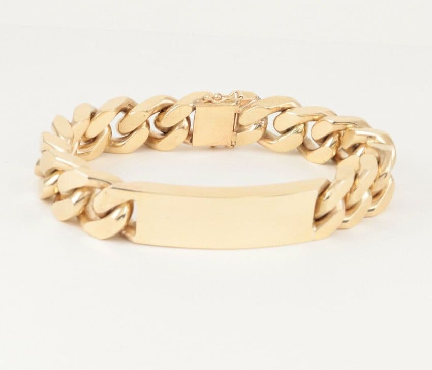 Vintage Heavy Solid 9Ct Gold Flat Curb Link Identity ID Bracelet 146 grams